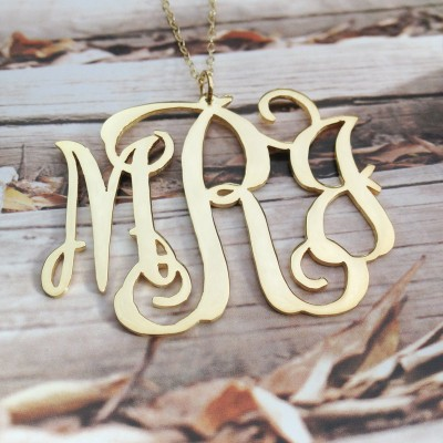1.25 inch Monogram Necklace,3 Initial Monogram Necklace,Gold Plated Monogram Necklace,Christmas gift Birthday gift -%100 Handmade