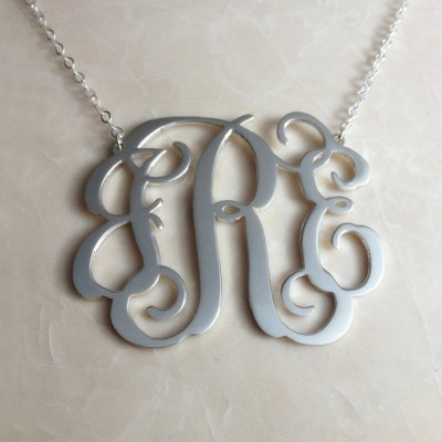 """1.5"""" inch Personalized Monogram Necklace,Silver Monogram Necklace,3 Initial Monogram Necklace,Custom Letter Necklace-%100 Handmade"""