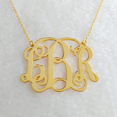 """1"""" Personalized Monogram Necklace,Gold Monogram Necklace,Gold Initial Monogram Necklace,Nameplate Necklace,Letter Necklace Christmas Gift"""