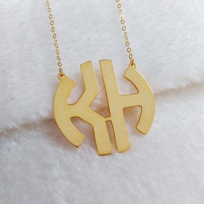 2 Initial Monogram Necklace,Gold Monogram Necklace,1.25 Initial Monogram Necklace,Personalized Monogram Necklace,Nameplate Necklace