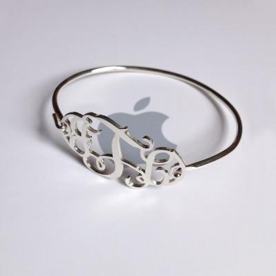 3 Initial Monogram Bracelet,Sterling Silver Monogram Bracelet,Custom Bracelet,Bridesmaid Gift,Name Bracelet-%100 Handmade