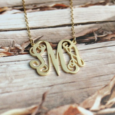 3 Initial Monogram Necklace,1.75 inch 18k Gold Plated Personalized Necklace,Letter Necklace,Custom Jewelry,Christmas Gift