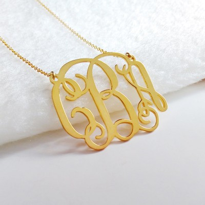 3 Initial Monogram Necklace,Large Monogram Necklace,2 inch Personalized Necklace,Nameplate Necklace,Letter Necklace Christmas Gift