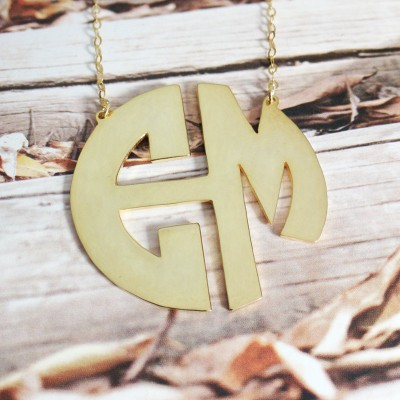 3 Initial Monogram Necklace,Personalized Necklace-1.25inch 18k Gold 3 Initial Monogram Necklace-%100 Handmade