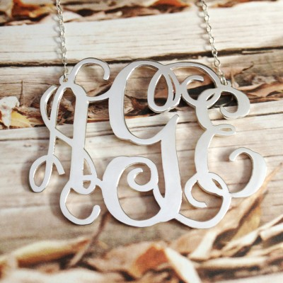 3 Initial Monogram Necklace,Sterling Silver Monogram Necklace,Personalized Monogrammed Nameplate Necklace Letter Jewelry-%100 Handmade