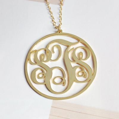 "3 Initials Monogram Necklace,Gold Monogram Necklace,Personalized Monogramm Necklace,Gold Letter Jewelry,Best Gift-1.75"" %100 Handmade"