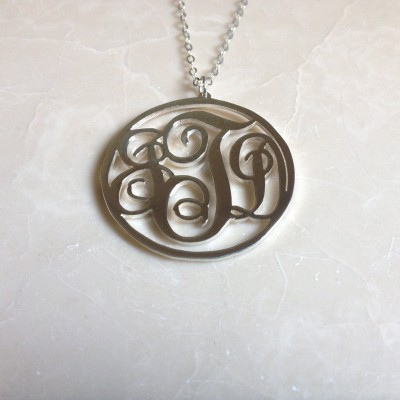 """3 Initials Necklace,Monogram Necklace,Letter Necklace,925 sterling silver 1.5"""" Monogrammed Necklace,Best Gift %100 Handmade"""