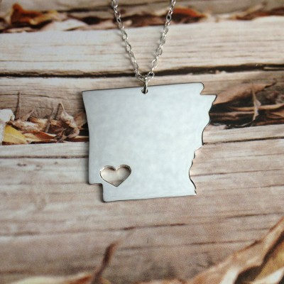 AR State Necklace,State Shaped Necklace,Arkansas State Charm Necklace,Personalized State Necklace,Silver State Necklace With A Heart