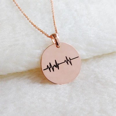 Beating Heart Pulse Necklace,Heartlines Necklace Gold,ECG Necklace,Personalized Heartbeat Necklace,Heart Beat Stethoscope Charm Necklace