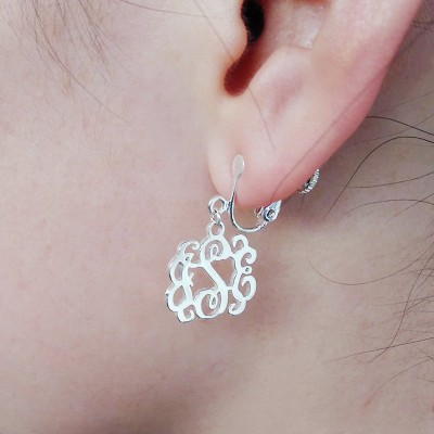 "Clip on Earrings,Personalize Clip Earring,Sterling Silver Monogram Earrings,Personalize Earings,Any initial Monogram Earings 0.6""inch"