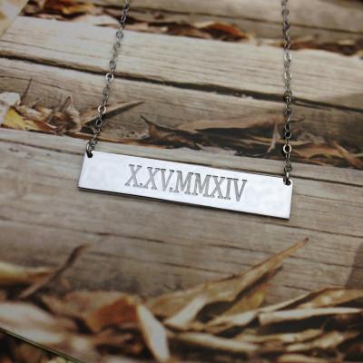 Coordinates Necklace,Latitude Longitude Necklace,Sterling Silver Horizontal Bar Necklace,Engraved Bar Necklace,latitude longitude jewelry