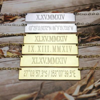 Coordinates Necklace,latitude longitude necklace,Roman Numeral Necklace,Silver Bar Necklace,Engraved Bar Necklace ,Custom jewelry