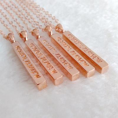 Custom Coordinate Necklace,Personalized Latitude Longitude Necklace,Engraved Name Bar Necklace,Rose Gold Long Bar Necklace,Best Gift