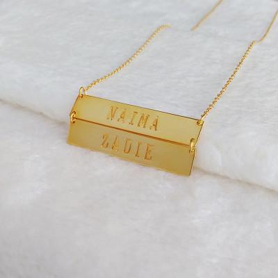 Double Bars on one Necklace,Personalized Name Bar Necklace Gold,Coordinates Necklace,Horizontal Bar Necklace,Latitude Longitude Jewelry