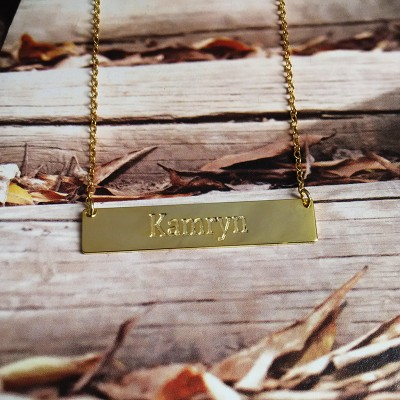 Engraved Bar Necklace,Gold Name Necklace,Latitude Longitude Necklace,Sterling Silver Horizontal Bar Necklace,latitude longitude jewelry