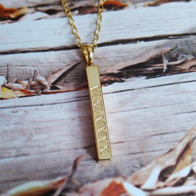 Engraved Coordinates Bar Necklace,Vertical Bar Necklace,Gold Long Bar Necklace,Silver Bar Necklace,Custom Latitude Longitude Jewelry