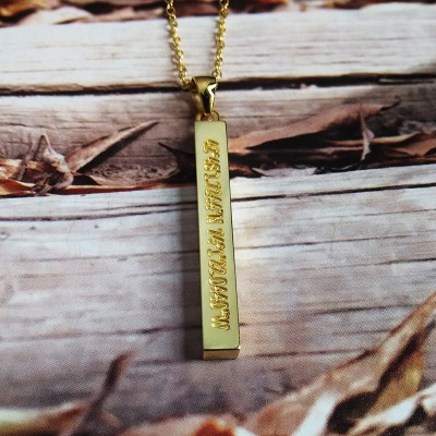 Engraved Coordinates Necklace,Long Gold Bar Necklace,Vertical Bar Necklace,Sterling Silver Name Bar Necklace,Custom Bar Jewelry