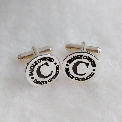 Engraved Logo Cufflinks,Groom Wedding Gift,Personalized Circle Cufflinks,Silver Men CuffLinks,Gift for Fathers Day