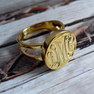 Engraved Monogrammed Ring,Gold Monogram Ring,Personalized Name Ring,Initial Ring,Nameplate ring,Christmas Present