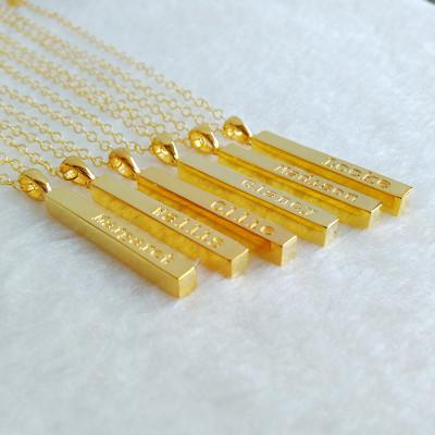 Engraved Name Necklace,Personalized Bar Necklace,Gold Coordinate Necklace,Gold Long Bar Necklace,Custom Latitude Longitude Jewelry,Best Gift