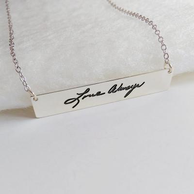 Engraved Signature Necklace,Handwritting Bar Necklace,Sterling Silver Horizontal Bar Necklace,Personalzied Bar Necklace,Handwritting Jewelry