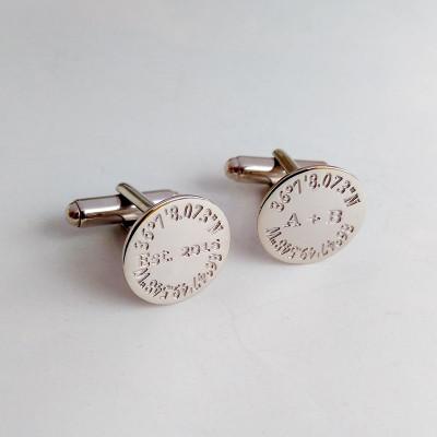 Father Of The Bride Cufflinks,Personalized Coordinates Cufflinks,Groom Wedding Cufflinks,Anniversary Date Cufflinks,Groom Wedding Gift