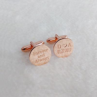 Forever and Always Cufflinks,Personalized Wedding Cufflinks,Date and Initials Cufflink,Groom Wedding Cufflinks,Elegant Monogrammed Cufflinks