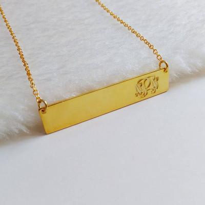 Gold Bar Necklace,Engraved Both sides Monogram Necklace,Coordinates Necklace,Engraved Bar Necklace,latitude longitude jewelry