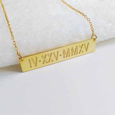 Gold Bar Necklace,Engraved Roman Numeral Bar Necklace,Latitude Longitude necklace,Coordinates Necklace,Monogram Bar Necklace,Custom Jewelry