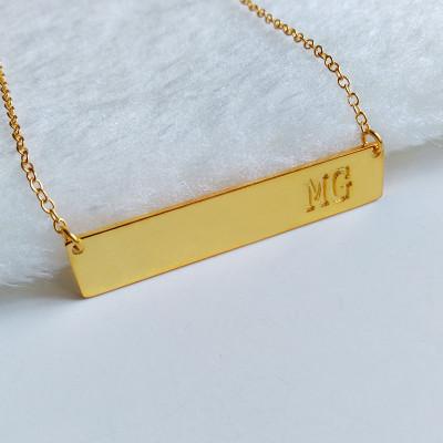Gold Bar Necklace,Two Initial Monogram Bar Necklace,Latitude Longitude necklace,Coordinates Necklace,Engraved Bar Necklace,Custom Jewelry