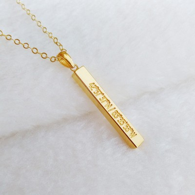 Gold Coordinate Necklace,Personalized Bar Necklace Gold,Engraved Bar Necklace,Gold Long Bar Necklace,Custom Latitude Longitude Jewelry