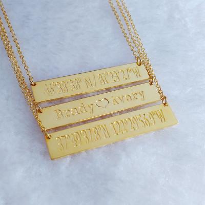 Gold Coordinates Necklace,Name Bar Necklace,Latitude Longitude Necklace,Best Friend Necklace,Engraved Bar Necklace Gold,Custom Jewelry