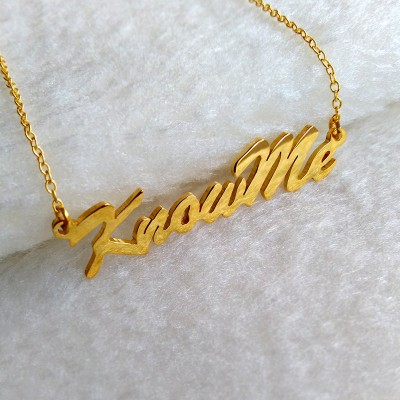 Gold KnowMe Necklace,Personalized Name Necklace,Gold Initials Necklace,Carrie Style Name Necklace,Sex and City Name Jewelry,Best Gift