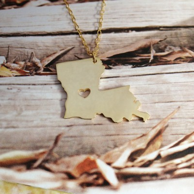 Gold Louisiana State Necklace LA State Charm Necklace State Shaped Necklace Personalized Louisiana State Necklace With A Heart