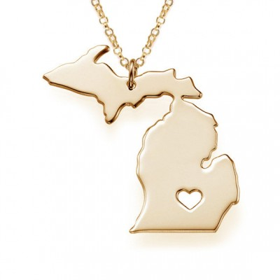 Gold Michigan State Necklace,MI State Necklace,State Shaped Necklace,Michigan Silver State Necklace,Personalized MI Necklace With A Heart