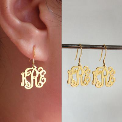 "Gold Monogram Earrings,any initial Monogram Earings,Personalize Earings 0.6""inch %100 Handmade"