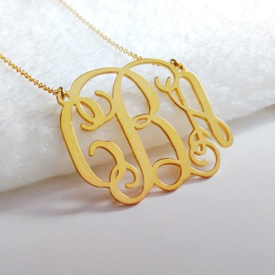 Gold Monogram Initial Necklace,1.75 inch Personalized Necklace,3 Initial Necklace,Nameplate Necklace,Letter Necklace,Wedding Gift