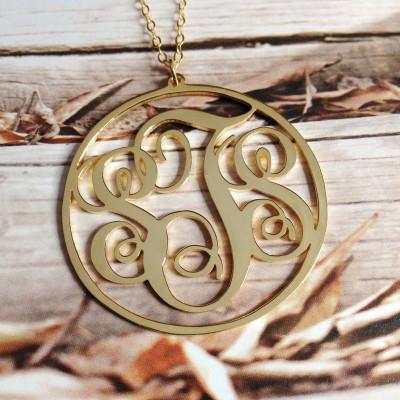 "Gold Monogram Necklace,3 Initial Monogram Necklace,Letter Monogram Necklace,1.75"" Vine Personalized Necklace,Custom Necklace Christmas Gift"