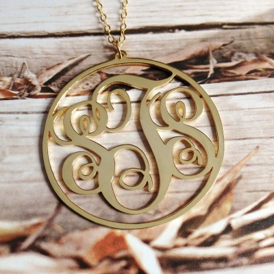 Gold Monogram Necklace,3 Initial Necklace,1 inch 18K Gold Plated Personalized Circle Necklace,Custom Necklace Christmas Gift -%100 Handmade