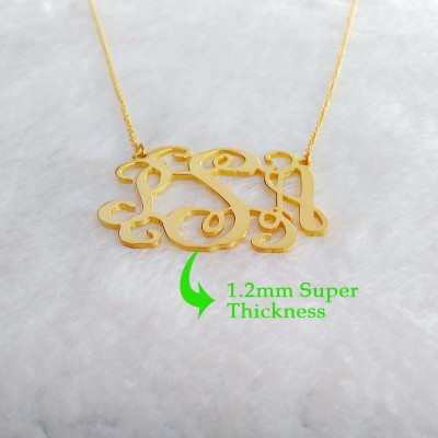 Gold Monogram Necklace,Personalized Monogram Necklace,Gold Initial Necklace,Nameplate Necklace,Gold Letter Necklace,Bridesmaids Gift