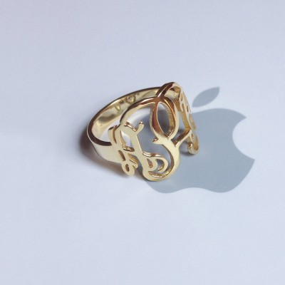 """Gold Monogram Ring Initial,0.6"""" Solid 925 Sterling Silver Ring,Cut Out 3 Initial Ring Personalized,Birthday Gift,Monogram Ring Jewelry"""