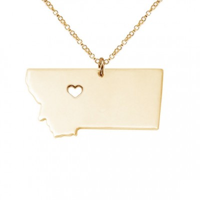 Gold Montana State Necklace,MT State Necklace,Montana State Charm Necklace,State Shaped Necklace,Custom Necklace With A Heart