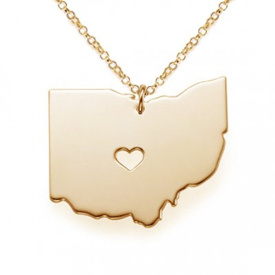 Gold OH State Shaped Necklace,Ohio State Necklace with A Heart,Ohio Map State Charm ,Personalized OH State Necklace-%100 Handmade