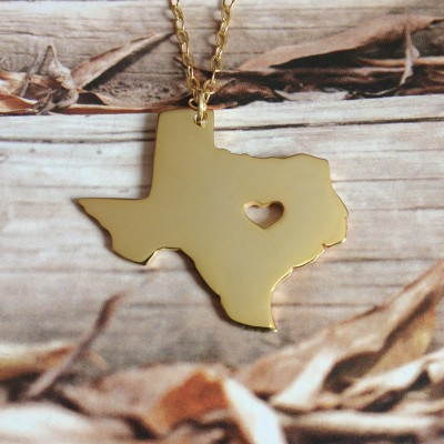 Gold Texas State Necklace,TX State Charm Necklace,Tx Map Shaped Necklace Personalized Texas State Necklace With A Heart-%100 Handmade