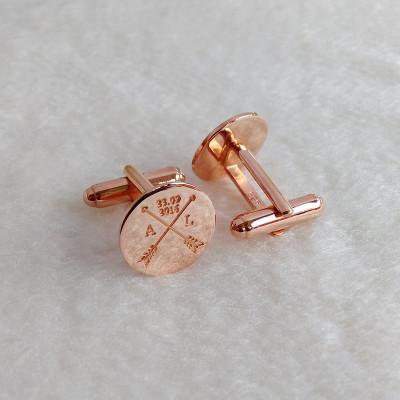 Groom Wedding Cufflinks,Arrows Date and Initials Cufflinks,Crossed Arrows Wedding Cufflinks,Engraved CuffLinks,Elegant Monogrammed Cufflinks
