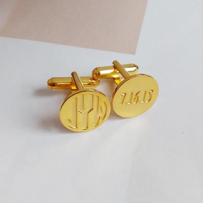 Groom Wedding Date Cufflinks,Gold Date and Initial Cufflinks,Men CuffLinks,Engraved Monogram CuffLinks,Gift for Fathers Day
