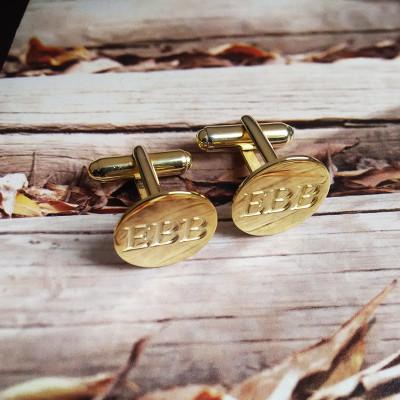 Groom Wedding Gift,Gold Men CuffLinks,Engraved Monogram CuffLinks,Gift for Fathers Day,Elegant Monogrammed Cufflinks