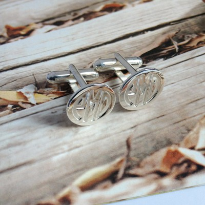 Groom Wedding Gift,Mens Wedding Cufflinks,Silver Men CuffLinks,Engraved Monogram CuffLinks,Gift for Father Day,Elegant Monogrammed Cufflinks