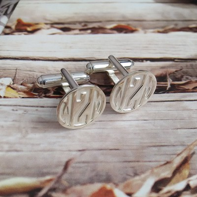 Groom Wedding Gift,Silver Men CuffLinks,Engraved Monogram CuffLinks,Gift for Fathers Day,Elegant Monogrammed Cufflinks