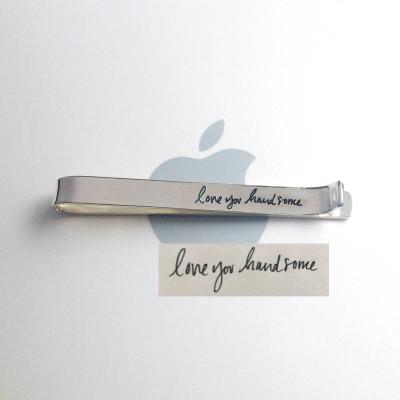 Handwritten Hidden Message Tie Clip,Handwriting Tie Clip Gold,Handwritten Tie Tack,Memorial Signature Tie Bar,Gift for Him,Father's Day Gift